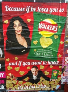 walkers cher gary lineker valentines heart shaped crisps poster